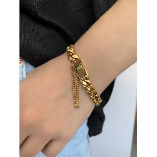 Популярный стальной браслет с крупными звеньями золотого цвета