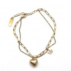 Стальной двухслойный женский браслет с подвеской Сердце