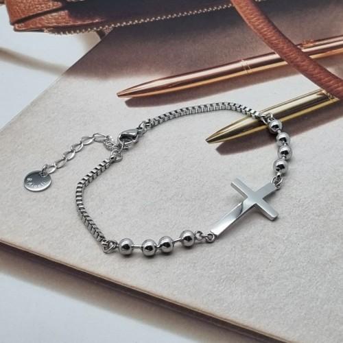 Стальной браслет для женщин с бусинами и Крестом