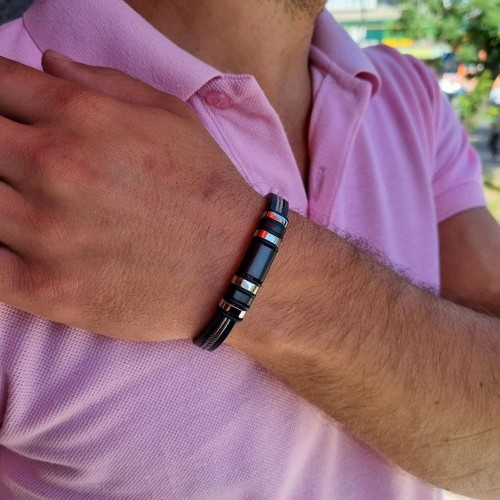 Мужской стильный браслет из натуральной кожи и гипоаллергенной стали