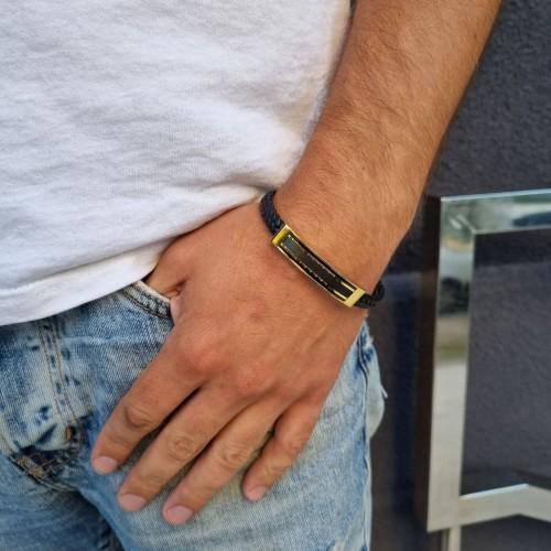 Мужской браслет из натуральной кожи и стали со стойким напылением