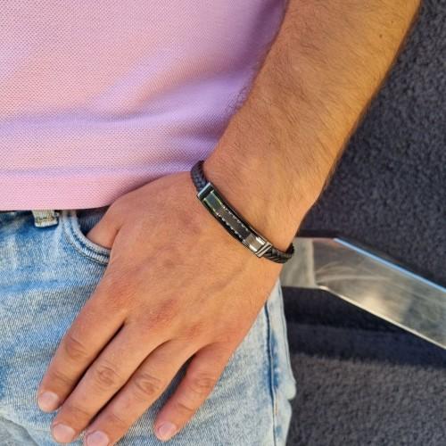 Мужской браслет из натуральной кожи и ювелирной стали