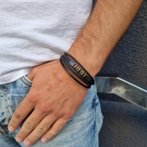 Стильный браслет для мужчин из кожи и стали Франциско
