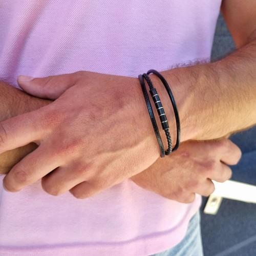Мужской браслет из кожи и стали на магнитной застежке Бьерн