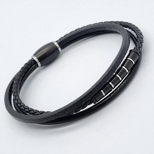 Мужской браслет из кожи и стали на магнитной застежке Фаворит