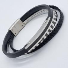 Кожаный браслет для мужчин с металлической вставкой Орион