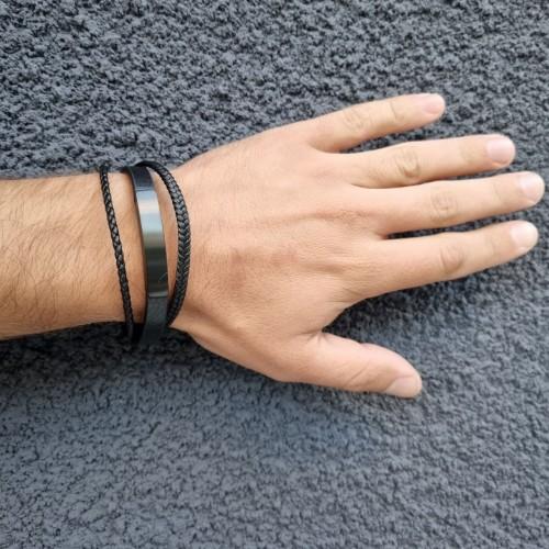 Мужской браслет из кожи и вставкой из гипоаллергенной стали для гравировки