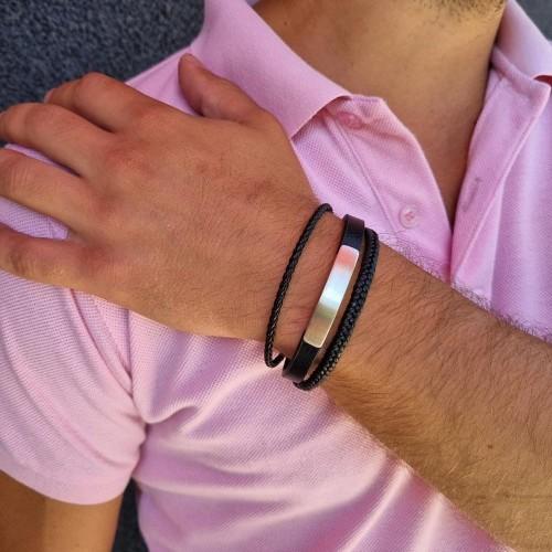 Мужской браслет из натуральной кожи и стали и пластиной для гравировки