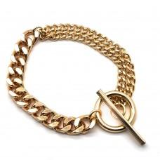 Массивный женский браслет из ювелирной стали с круглым замком