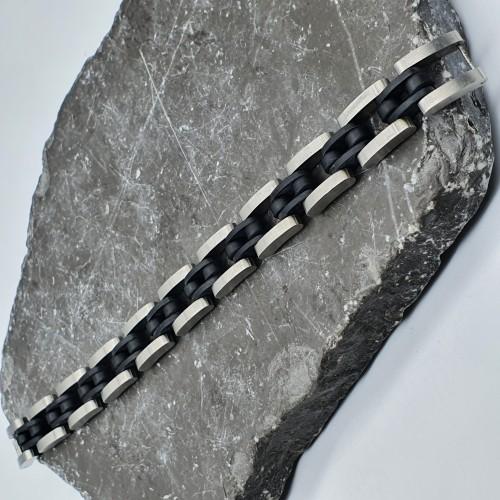 Браслет мужской из стали и каучука  Альтрон