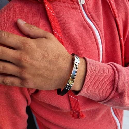 Мужской браслет из натуральной кожи и медицинской стали Бридж