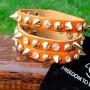 Кожаный браслет с шипами из натуральной кожи оранжевого цвета купить №5