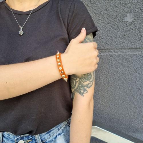 Кожаный браслет с шипами (ОРАНЖЕВЫЙ)