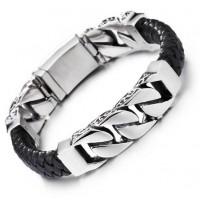 Мужской браслет-цепочка из стали и кожи