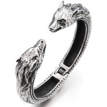 Мужской браслет-манжет стальной волк