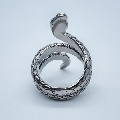 Стальное кольцо для мужчин и женщин з чернением Длинная Змея