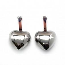 Массивные серьги-гвоздики из ювелирной стали Сердце