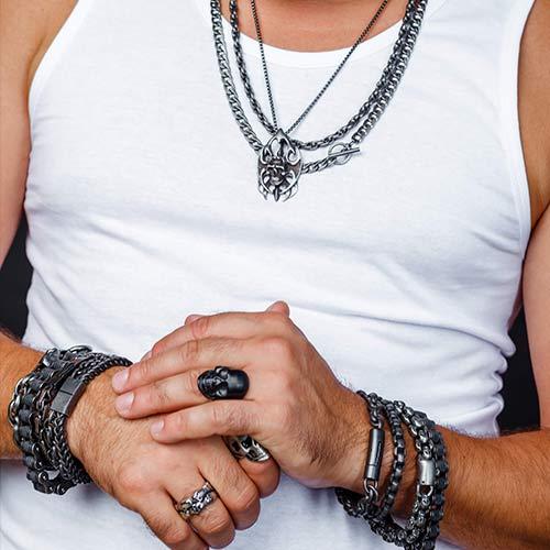 Черный стальной браслет плетение сложный якорь