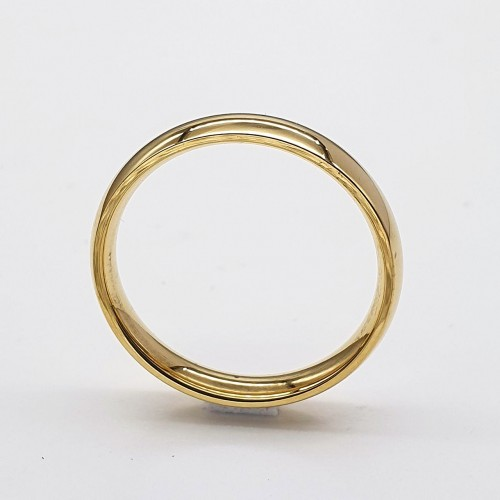 Стальное обручальное кольцо 4 мм под золото