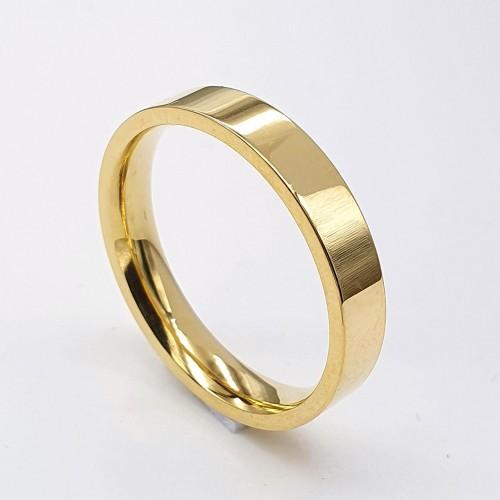 Стальное обручальное кольцо американка золотого цвета 4 мм