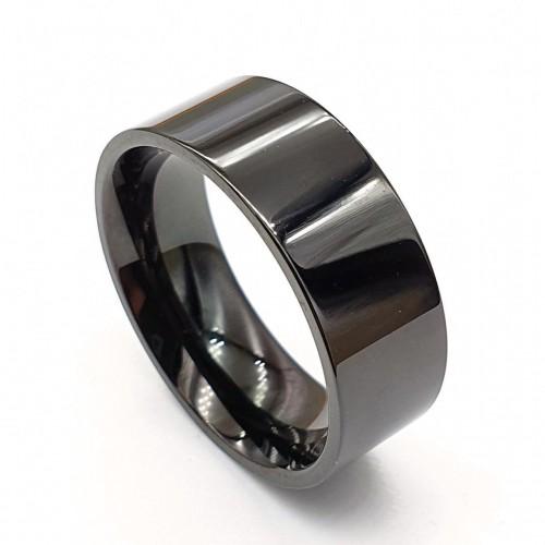 Черное кольцо из медицинской стали американка 8 мм