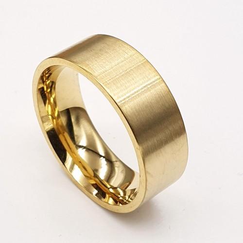 Парные кольца для двоих из медицинской стали 8 мм под золото матовое