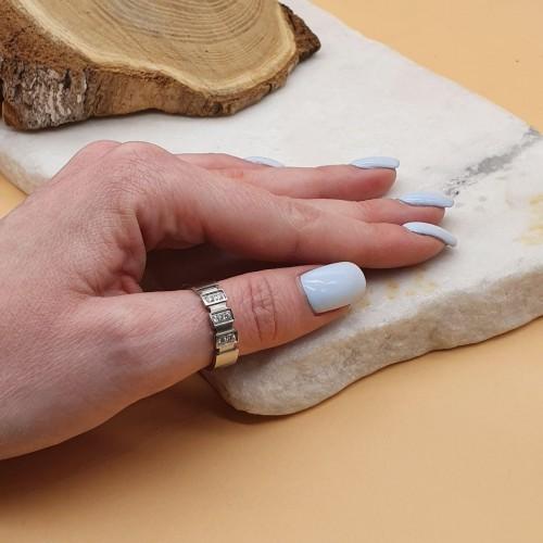 Кольцо женское из медицинской стали с циркониями Таис