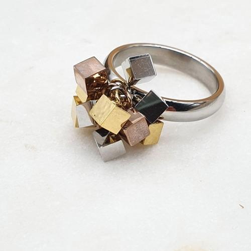 Женское кольцо из комбинированной стали Брызги шампанского