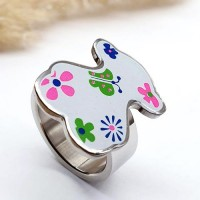 Кольцо с эмалью и фианитами медицинская сталь Мишка