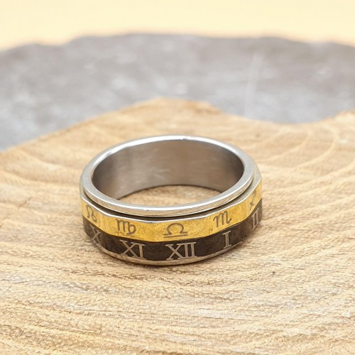 Кольцо антистресс из медицинской стали мужское с оборачивающимся элементом  Циферблат и Зодиак