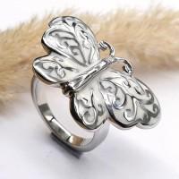 Кольцо из стали с эмалью женское Белая бабочка