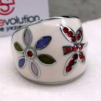 Стальное кольцо с эмалью женское Бабочка и цветок