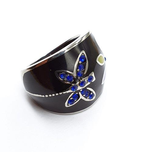 Эмалевое кольцо для женщин Бабочка и цветок черное