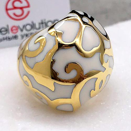 Женское стальное кольцо с белой эмалью Арабская ваниль