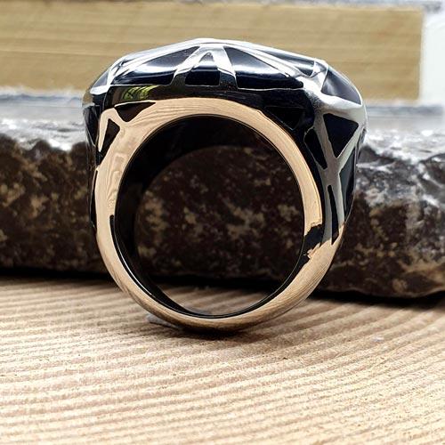Стальное кольцо с черной эмалью Черная звезда