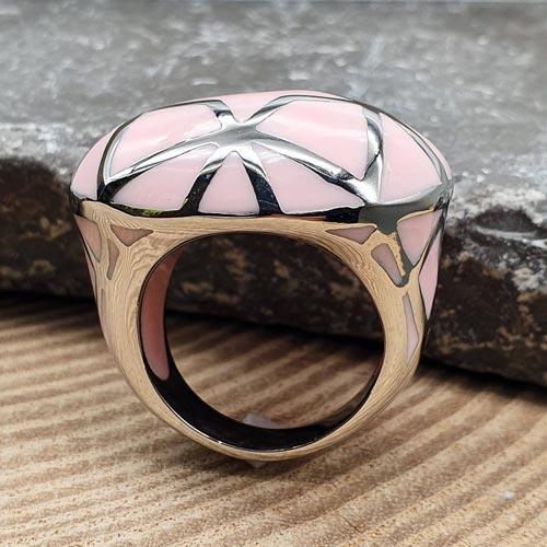 Женское кольцо с цветной эмалью Будур