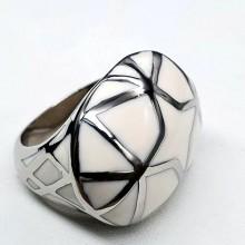 Кольцо эмаль женское Белая звезда