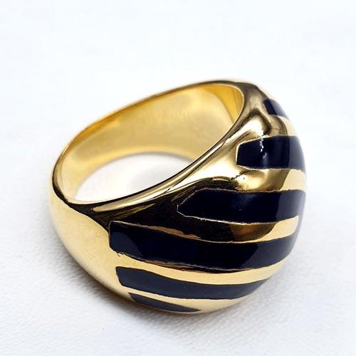 Женское кольцо с цветной эмалью Фируза