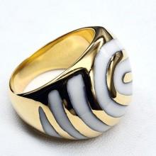 Стальное кольцо с белой эмалью Мурада