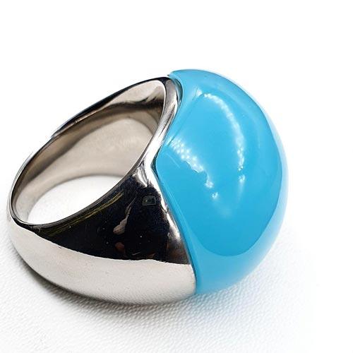 Кольцо из медицинской стали женское Голубой лед
