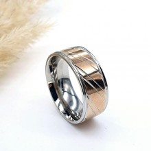 Обручальное кольцо из комбинированной медицинской стали 8 мм
