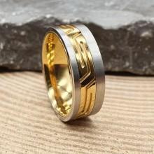 Кольцо стальное мужское с PVD покрытием Киприот