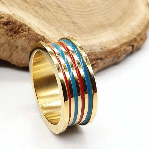 Кольцо из медицинской стали с цветной эмалью женское Велес