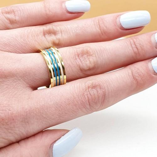 Кольцо из медицинской стали с цветной эмалью женское Зима