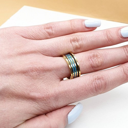 Кольцо из медицинской стали с цветной эмалью женское Марена