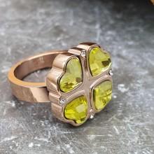 Кольцо сталь для женщин Зеленый клевер