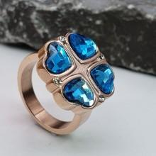 Кольцо сталь для женщин Голубой клевер