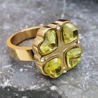 Кольцо металлическое из медицинской стали Зеленый клевер золото