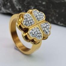 Кольцо стальное широкое женские кольца Золотой клевер