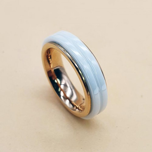 Женское кольцо из белой керамики и стали антистресс